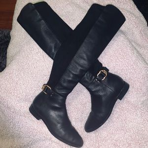 TORY BURCH MARSDEN OVER KNEE  BLACK LEATHER BOOT.